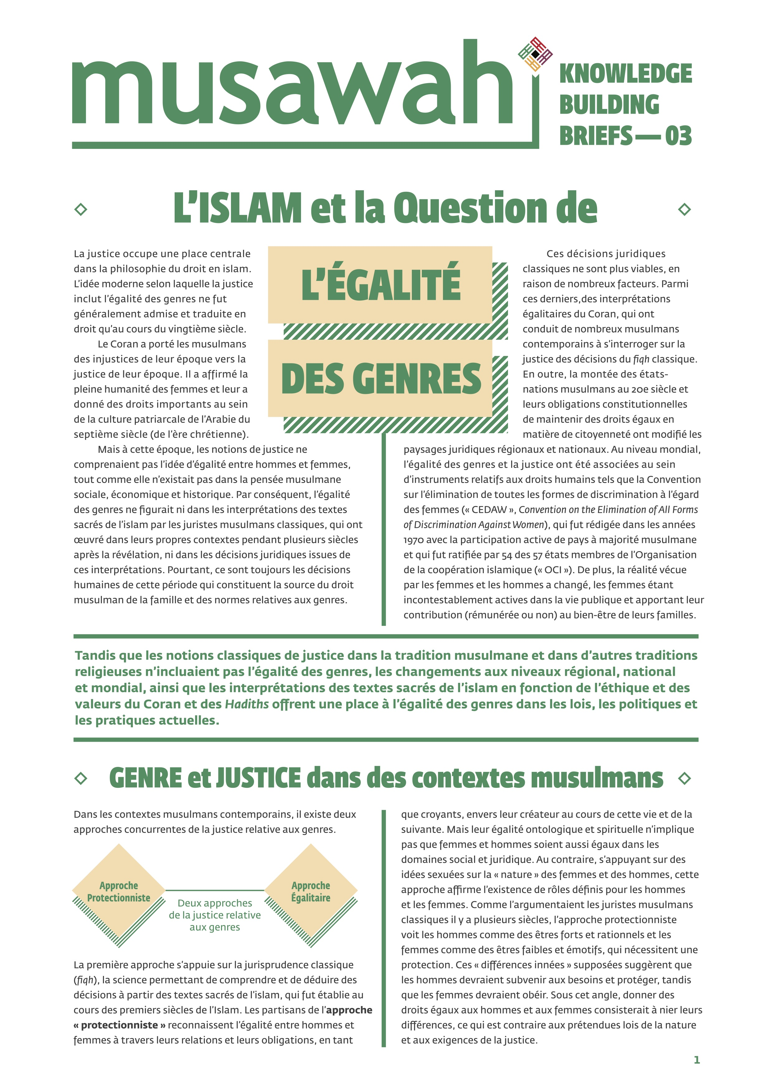 Knowledge Equality >> Knowledge Building Brief 3 Islam And The Question Of Gender