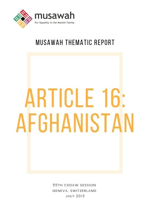 Afghanistan-Thematic-Report-CEDAW55-2013-Cover